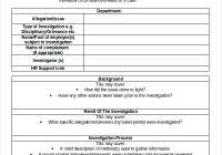 investigation report template report templates free word templates