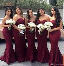 Wedding Dresses Discount Elegant Burgundy Sweetheart Lace Mermaid Cheap Long Bridesmaid