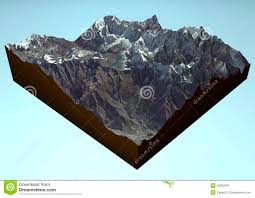 Himalayan Mts Map Satellite View Of Annapurna Himalaya Mountains Stock Illustration