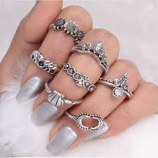 midi ring set josbores 7pcs vintage elephant carved midi ring set women ethnic