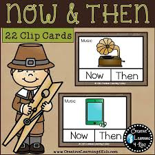 now then past present clip cards thanksgiving digital