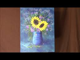 Vase Of Sunflowers How To Paint A Vase Of Flowers Sunflowers Purple Daisies And