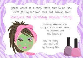 girls spa party invitation wording party invitations this