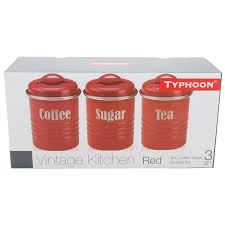 amazon com typhoon vintage kitchen tea coffee sugar canisters amazon com typhoon vintage kitchen tea coffee sugar canisters red set of 3 kitchen storage and organization product sets