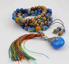 long boho necklace images Blue natural imperial stone tassel necklace mala bead necklace jpg