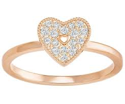 heart ring field folded heart ring white gold plating usa