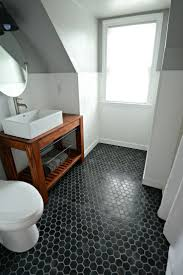 Inexpensive Bathroom Tile Ideas by Small Inexpensive Bath Reveal Beadboard Farmhouse Black Hex