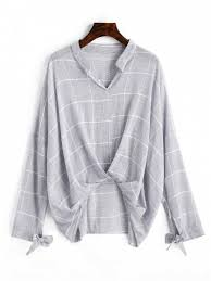 s blouse gathered gingham high low blouse gray blouses s zaful