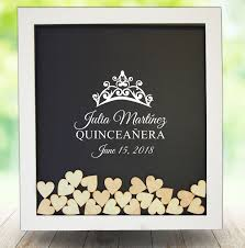 quinceanera guest book quinceanera dropbox guest book white frame wood hearts included