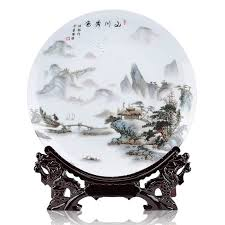 ceramic ornamental plate landscape plate decoration