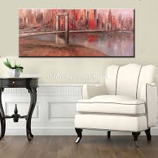 brooklyn bridge canvas promotion shop for promotional brooklyn hand painted red large wall art new york brooklyn bridge canvas painting modern wall picture for living room home decoration