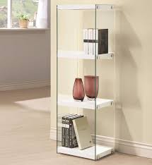 contemporary white three shelf bookcase glass shelves side panels