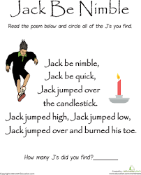 find the letter j jack be nimble letter j nursery rhymes and