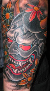 hannya mask tattoo black and grey mask tattoos and designs page 4
