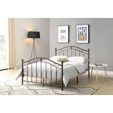 hodedah black and silver queen size metal panel bed with headboard