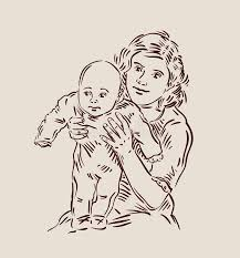 hand drawn young mother with a baby sketch stock vector image