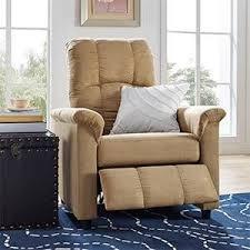 amazon com dorel living slim recliner beige kitchen u0026 dining