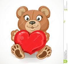 cartoon teddy bear holding a heart