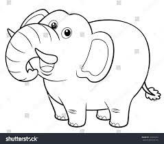 awesome idea elephant coloring book illustration cartoon stock