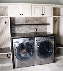 glazed antique white laundry room cabinets general finishes