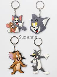 tom and jerry key chain pvc key holder cat mouse key ring