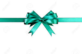 green gift bow green gift ribbon bow horizontal isolated on white