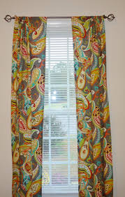 curtain panels paisley whimsy grey turquoise orange green blue