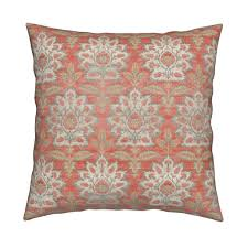Home Decor Coral by Carnations And Tulips Damask Ikat Mint And Coral Fabric