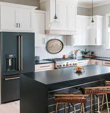 gray kitchen cabinets with black stainless steel appliances black stainless steel appliance finish of choice kitchen
