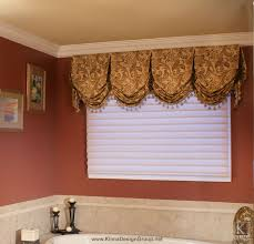 Bathroom Window Valance Ideas Custom Bathroom Valance With Contrast Trim And Buttons Valance