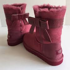30 ugg boots ugg australia pink leather bow boots authentic