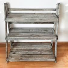 Antique Teak Wood Furniture Foldable Three Tier Plant Theatre Stand For Home And Garden