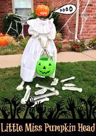 Outdoor Halloween Decorations Pumpkin by Easy Halloween Outdoor Decor Little Miss Pumpkin Head The