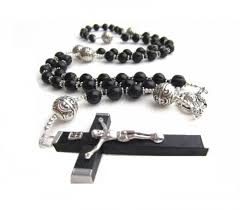 black rosary necklace images Mens large black fashion rosary necklace in black wood and silver jpg