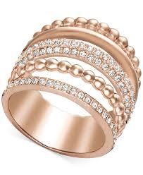 pink crystal rings images Lyst swarovski rose gold tone crystal illusion stack ring in pink jpeg