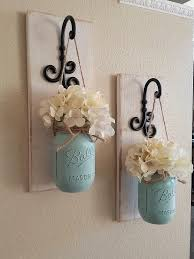 Set of 2 Mason Jar Sconces Mason Jar Wall Decor Country Decor