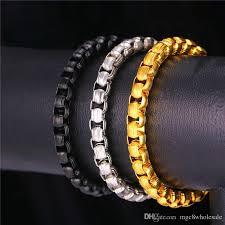 gold box chain bracelet images 2018 u7 7mm hiphop new box chain bracelet men jewelry gold black jpg