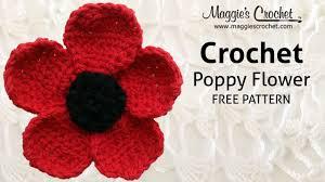 poppy flower free crochet pattern right handed youtube