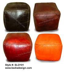 Square Brown Leather Ottoman Ottoman Leather Pouf Ottoman Leather Ottoman Moroccan Leather