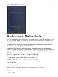 lincoln letters 1 pdf project gutenberg damages