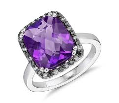 amethyst engagement ring custom by robert leser amethyst and diamond halo ring in 14k white gold