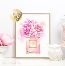 chanel art print coco chanel perfume gold foil print