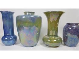 Vases And Bowls Four Ruskin Lustre Vases And Six Ruskin Plates And Two Small Bowls