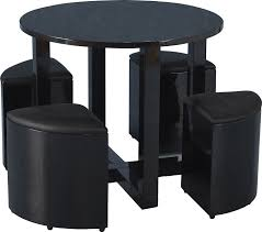Round Dining Table With Hidden Chairs Seconique Charisma Stowaway 90cm Black Gloss Dining Table And 4