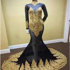 black and gold dress 49 black and gold mermaid high neck sleeves zipper