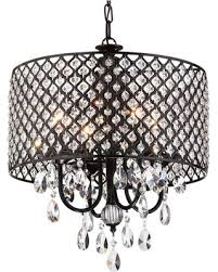 crystal l shade chandelier amazing deal mariella 4 light crystal drum shade chandelier black