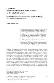 personal informatics and evolution in the digital universe springer