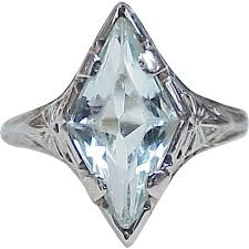 sold rb 4 7 art deco fancy kite cut aquamarine ring 14k white gold