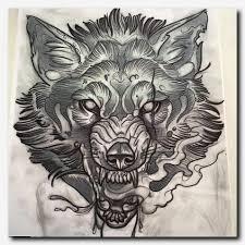 wolftattoo design in tiny dot tattoos blue