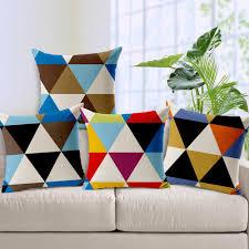 colorful sofa pillows color geometric custom cushion covers triangle pattern throw